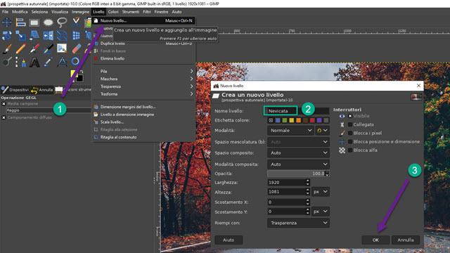 creare un nuovo livello con GIMP