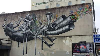 Graffiti eines Straßenmusikanten in Dunedin, Neuseeland