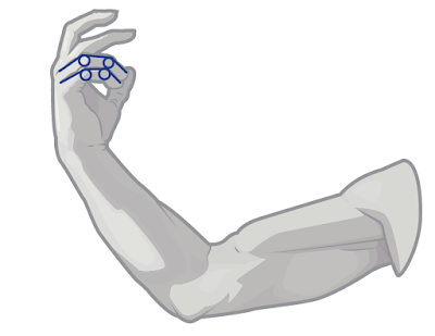 Simplify fingers to line to help position them accurately
