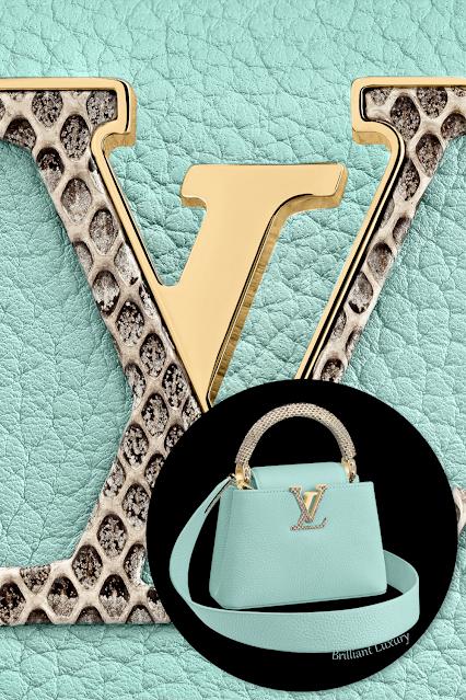 Louis Vuitton Capucines mini vert d'eau green taurillon leather bag with Ayers snakeskin trim #brilliantluxury