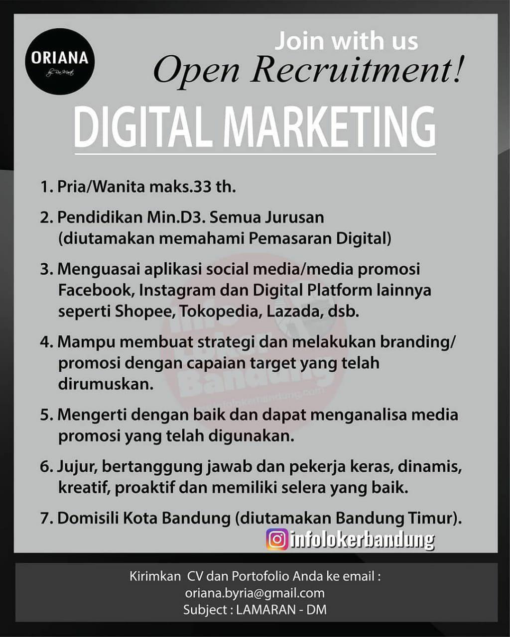 Lowongan Kerja Digital Marketing Oriana Boutique & Scarves Bandung Oktober 2019