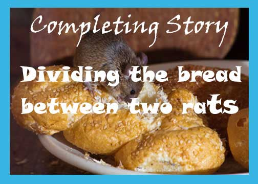 Dividing the bread between two rats story with moral. Inspirational story.