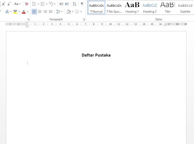 cara membuat daftar pustaka di word - step 1