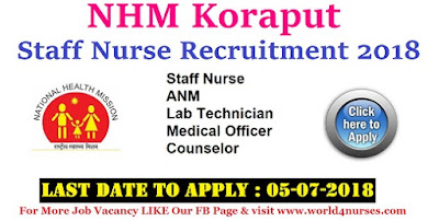 NHM Koraput Staff Nurse Recruitment 2018