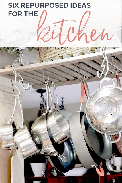 hanging pot rack with Pinterest overlay