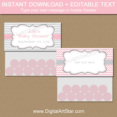 printable baby shower party favors with editable text - treat bag toppers in pink and gray chevron