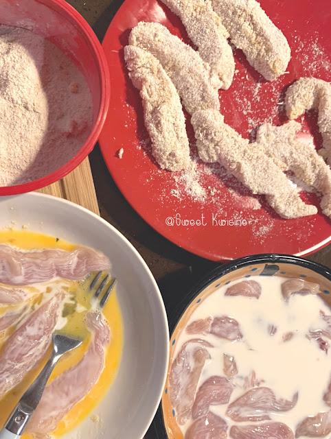 sweet kwisine, poulet, poulet pané, manioc, farine de manioc, cuisine antillaise, cuisine créole, gros thym, martinique, guadeloupe, creol food, fingers, chicken fries,