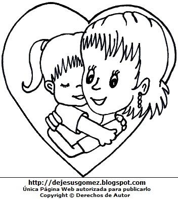 Madre abrazando a su hija en un corazón para colorear pintar imprimir. Dibujo de una madre de Jesus Gómez