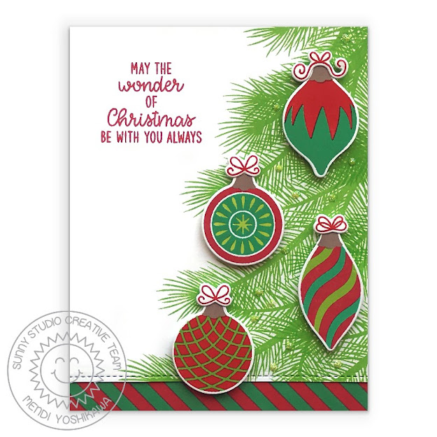 Sunny Studio Red & Green Vintage Glass Ornaments Handmade Holiday Christmas Card (using Retro Ornament, Holiday Style, Background Basic, Inside Greetings Holiday Stamps & Slimline Basic Border Dies)