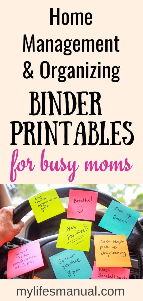Home management binder printables for busy moms