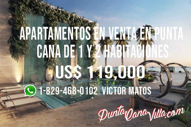 Apartamentos en Venta en Punta Cana de 1 y 2 habitaciones, Club de playa, campo de golf.