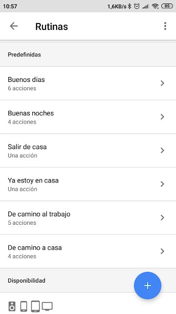 pantalla-rutinas-predefinidas-app-google-home