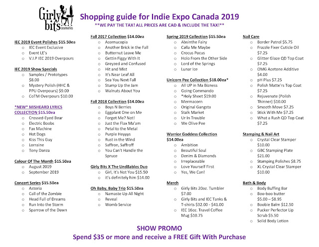 Girly Bits - Indie Expo Canada Shopping List 2019