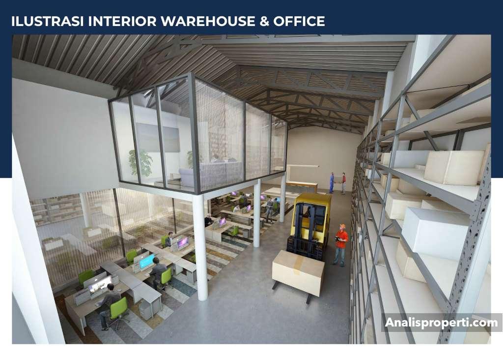Ilustrasi Interior Warehouse dan Office Bizpark PIK 2