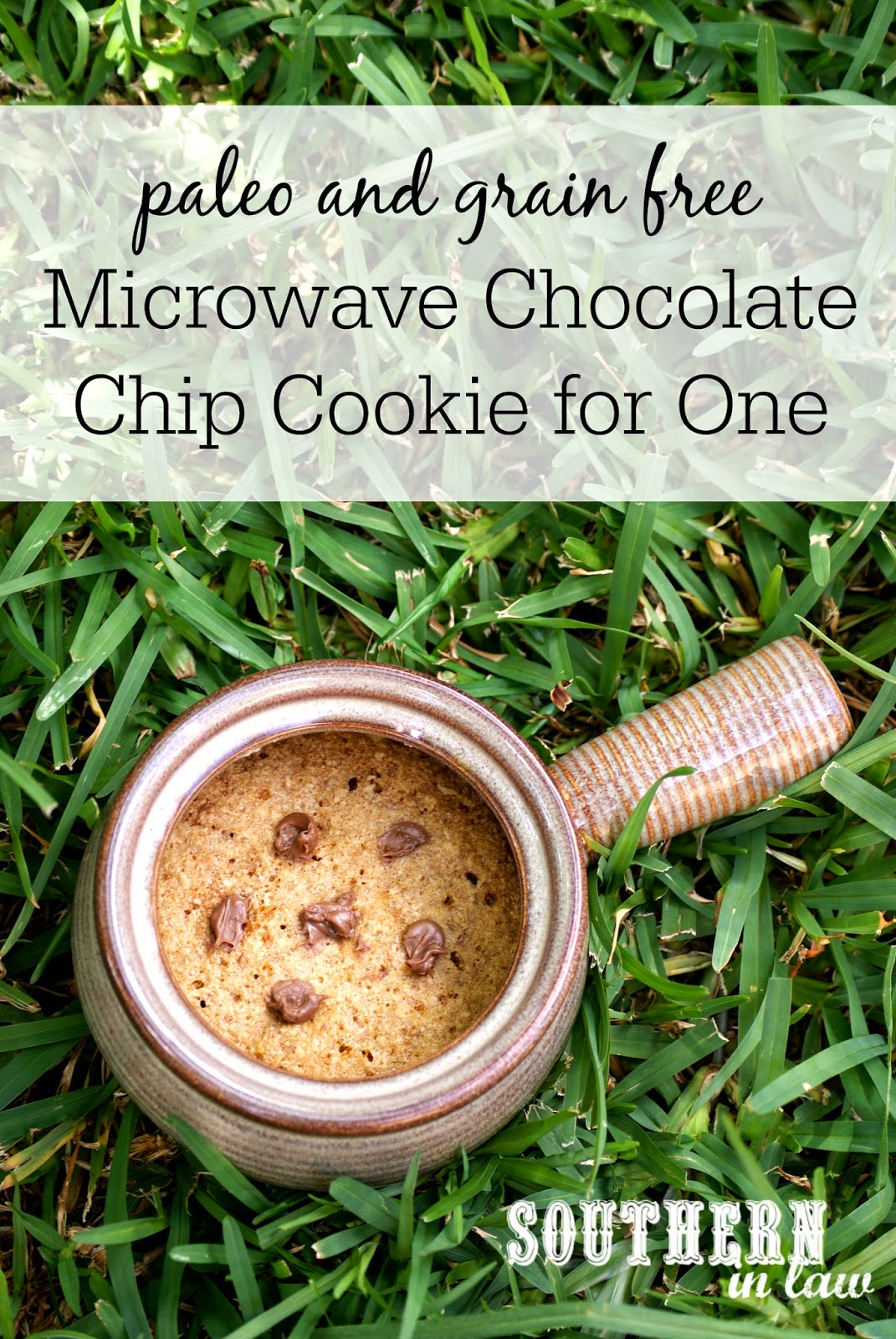 Paleo and Grain Free Microwave Chocolate Chip Cookie in a Mug Recipe - gluten free, grain free, refined sugar free, single serving