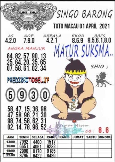 Syair Top Singo Barong Toto Macau Kamis 01 April 2021