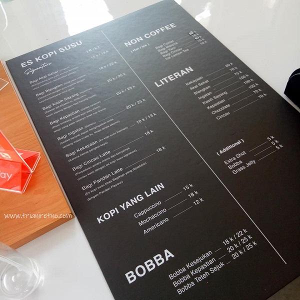 daftar minuman dan harganya d bagi kopi tempat ngopi murah di bandung