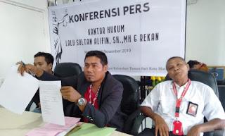 Pengacara Ispan, Lalu Sultan Alifian SH., MH saat jumpa pers