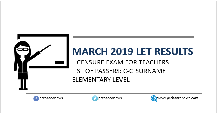 C-G Passers Elementary: March 2019 LET Results