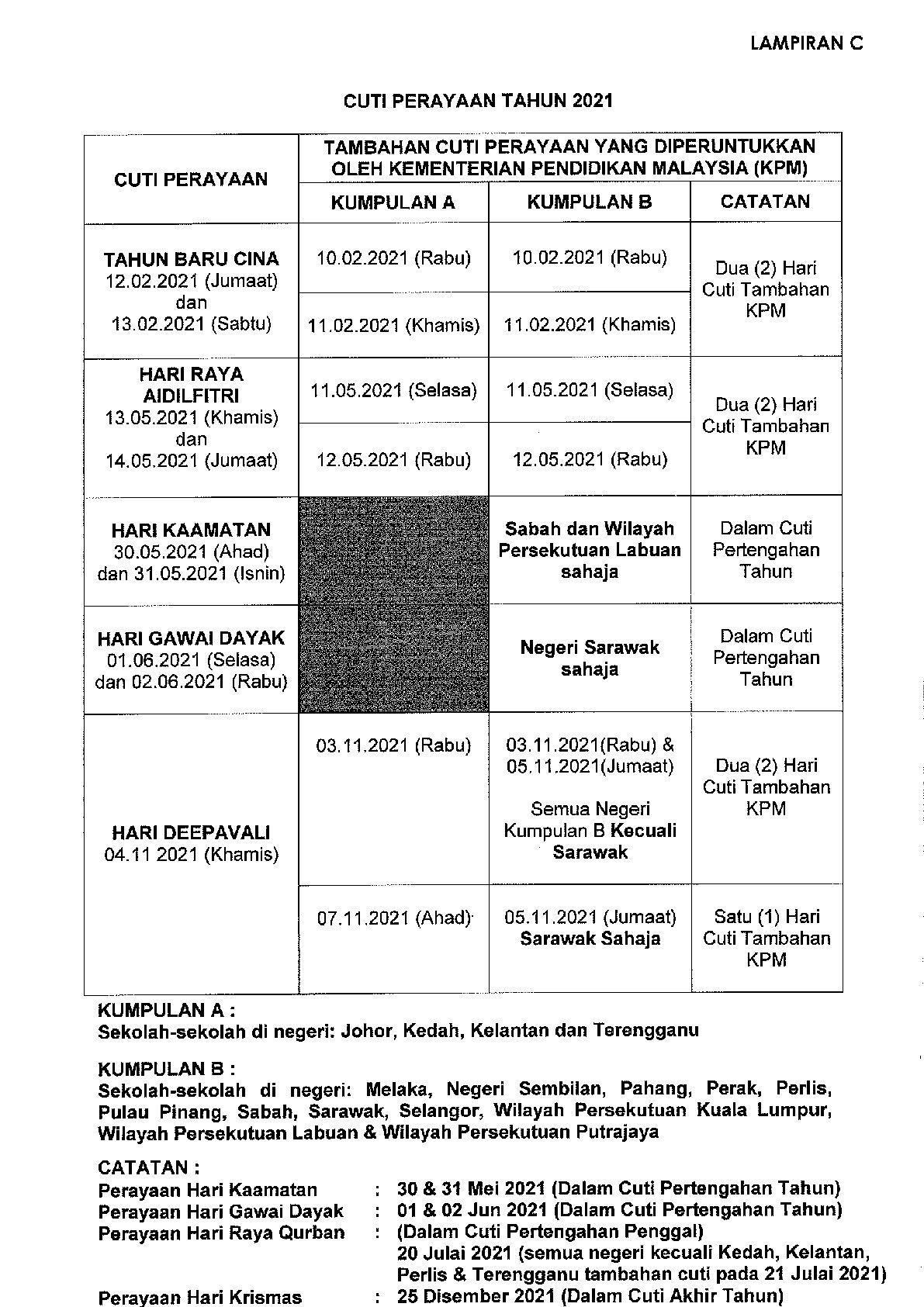 Takwim Cuti Sekolah Malaysia Tahun 2021