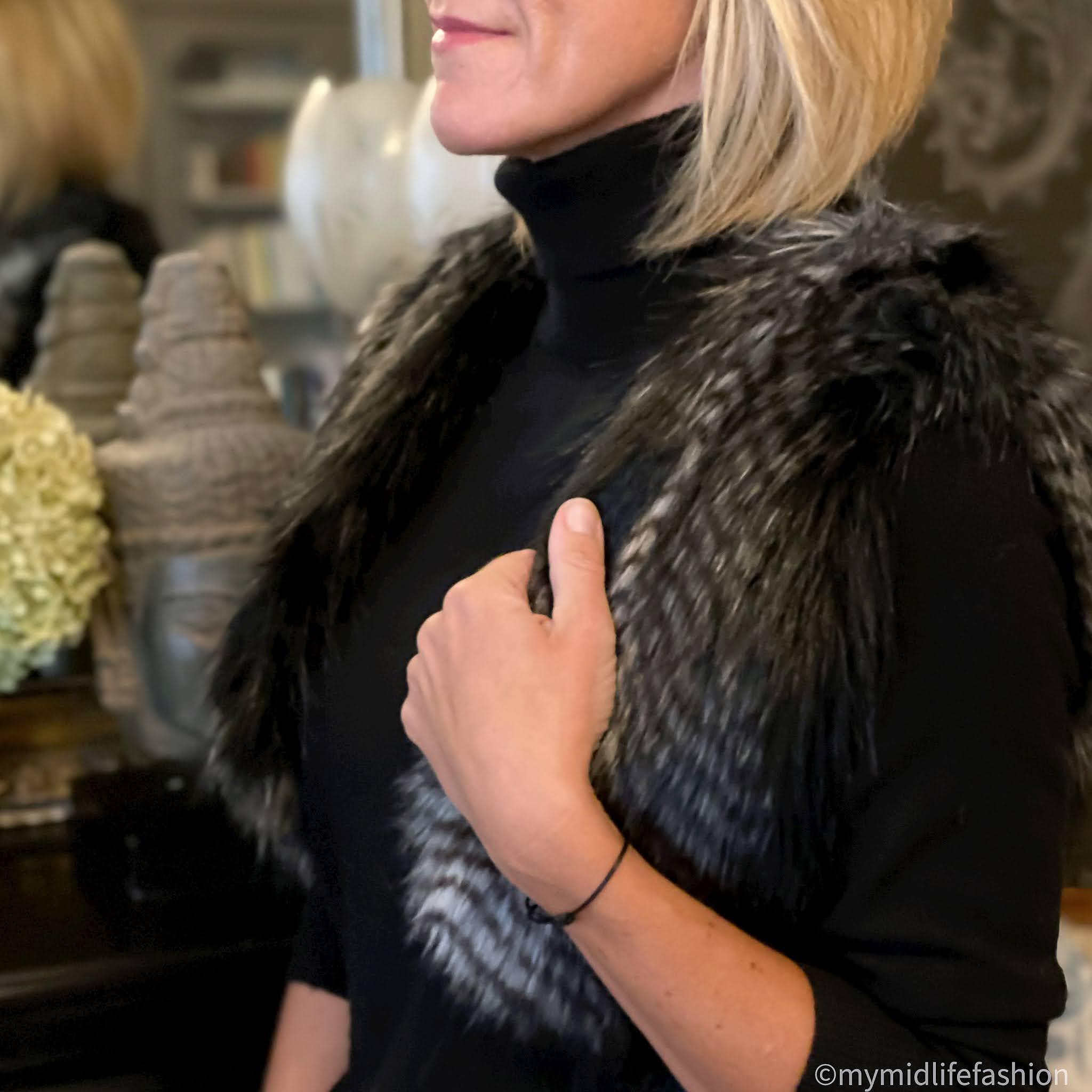 my midlife fashion, Helen Moore shrug in black quail