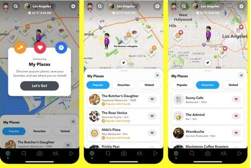 Suggestions for places of interest on the Snapchat map