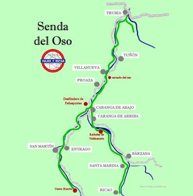 Mapa de la Senda del oso, Asturias