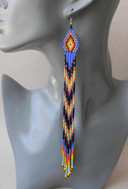 купить очень длинные серьги из бисера украшения ручной работы этника