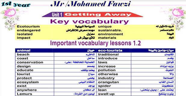 مذكرة اللغة الانجليزية للصف الاول الثانوى الترم الاول