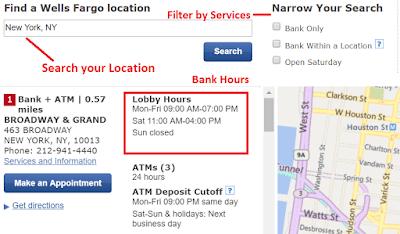 Wells Fargo Hours of Operations