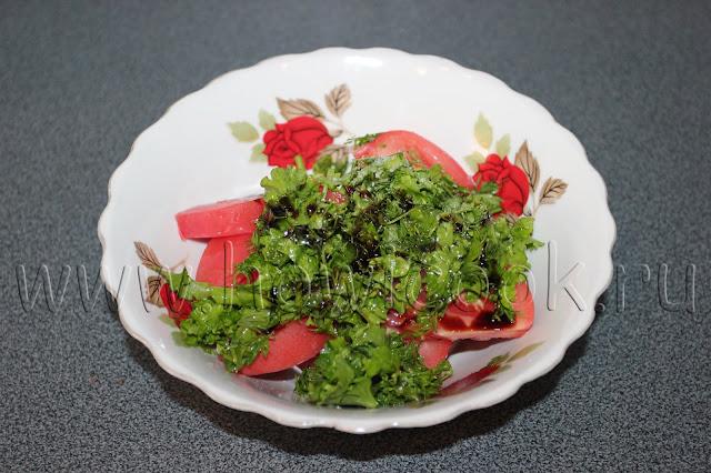 рецепт помидорного салата с зеленью с пошаговыми фото