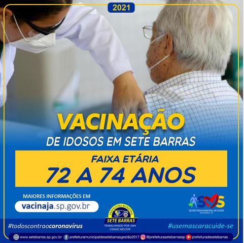 CAMPANHA DE VACINAÇÃO CONTRA A COVID-19 CHEGA AOS IDOSOS DE 72 AOS 74 ANOS