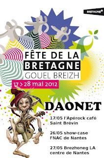 Programme de Daonet rock breton et celtique en 2012 pour la fête de la Bretagne