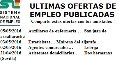 San Juan de Aznalfarache, Mairena del Aljarafe, Lebrija, Dos Hermanas, Sevilla, Lanzadera de Empleo Virtual. Sistema Nacional de Empleo