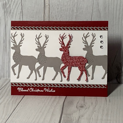 Christmas card with 4 deer images on card front