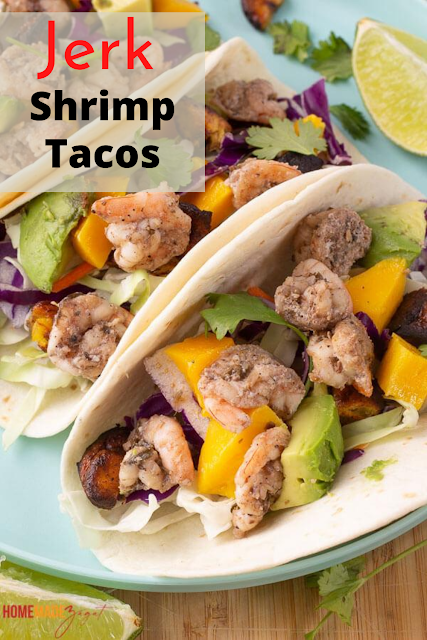 The BEST homemade jerk shrimp taco recipe you can find. Spicy shrimp layers on crunchy cabbage slaw and topped with avocado, mango and plantains.