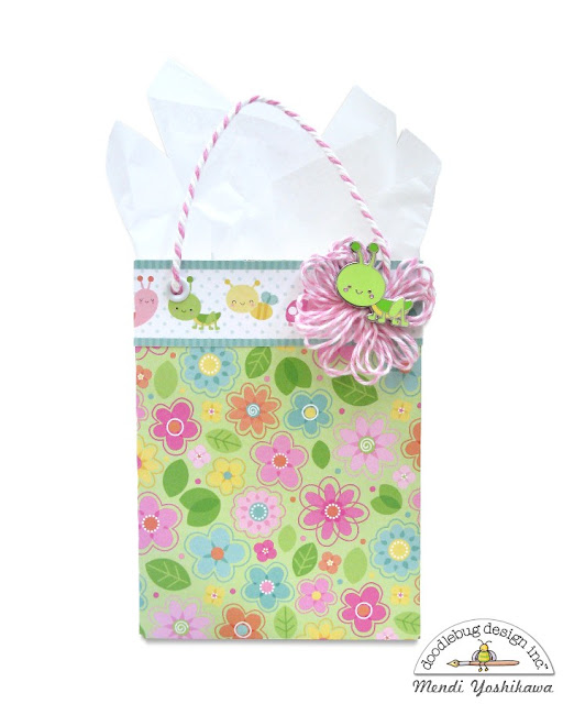 Doodlebug Design Spring Things Gift Bag featuring Collectible Pins by Mendi Yoshikawa