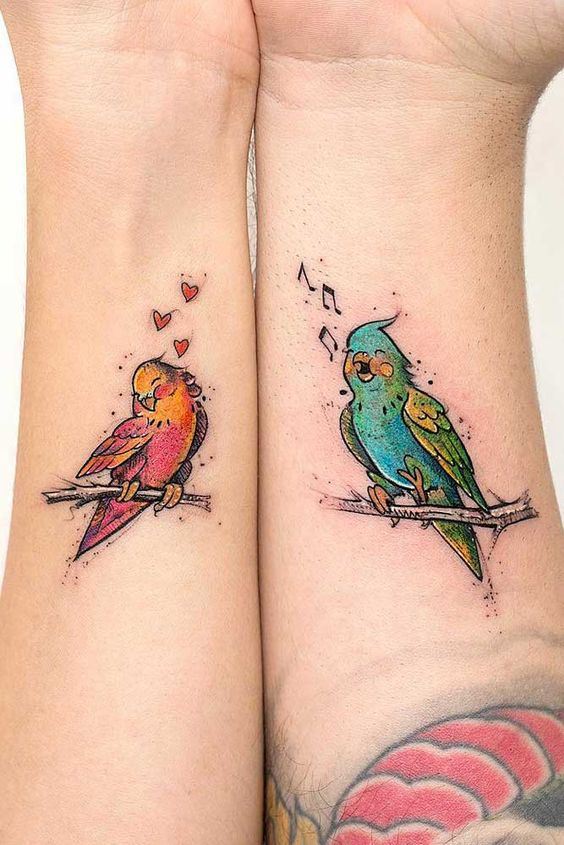 Cute Birds Couple Tattoo