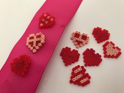 Mini Hama beads heart pin badges craft