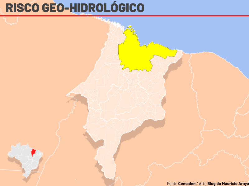 Cemaden emite novo alerta sobre risco de alagamentos, inundações e enxurradas no Maranhão