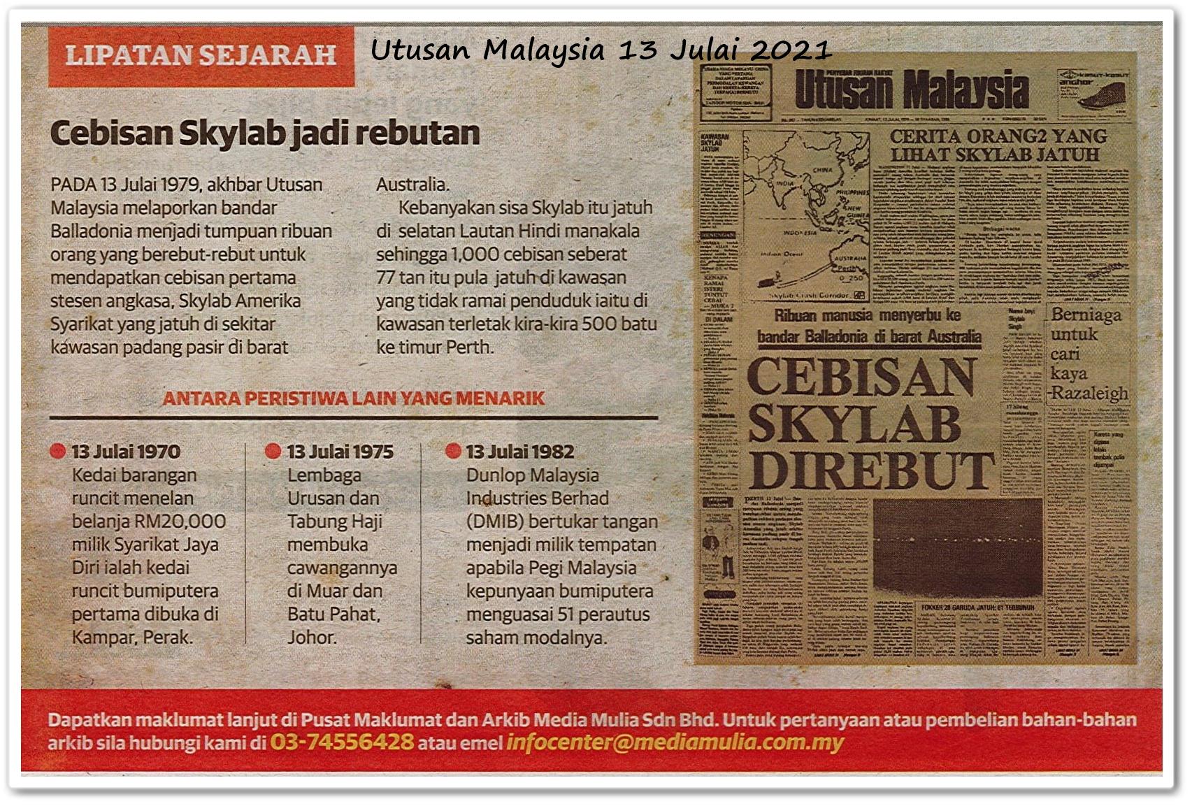 Lipatan sejarah 13 Julai - Keratan akhbar Utusan Malaysia 13 Julai 2021