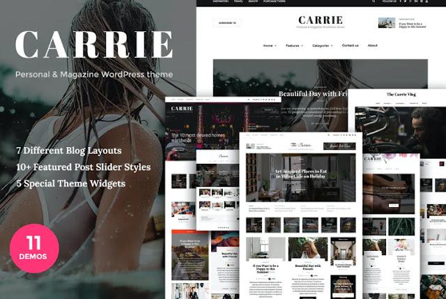 Free Download Carrie - Personal & Magazine WordPress theme