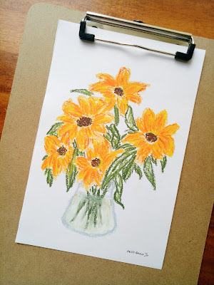 Sunflowers in oil pastel, yellow and bright flowers made with Mungyo oil pastel sticks