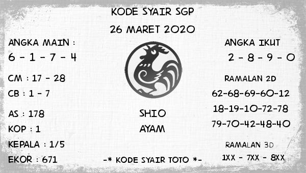 Bocoran Togel Singapura Kamis 26 Maret 2020 - Kode Syair SGP