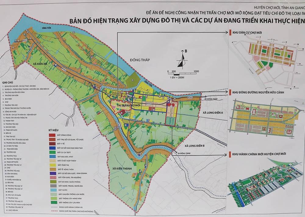 Bản đồ hiện trạng xây dựng đô thị và cập nhật các dự án đang triển khai ở thị trấn Chợ Mới, tỉnh An Giang