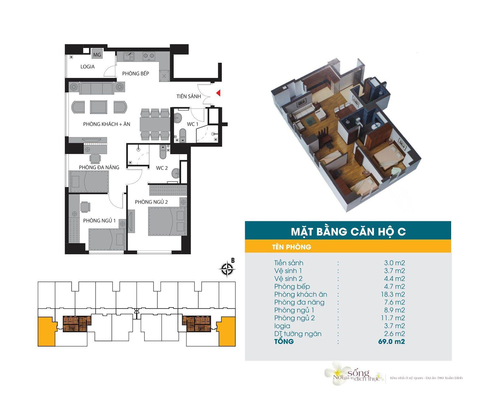 Căn hộ hộ 69 m2