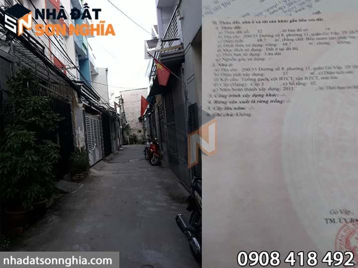 Bán nhà đường số 8 phường 11 Gò Vấp