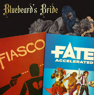 The current cover art for three descriptive roleplaying games: Bluebeard's Bride, Fiasco, and Fate Accelerated