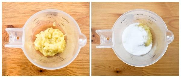 Making banana pancakes - step 1 - mashed banana then sugar added to a jug