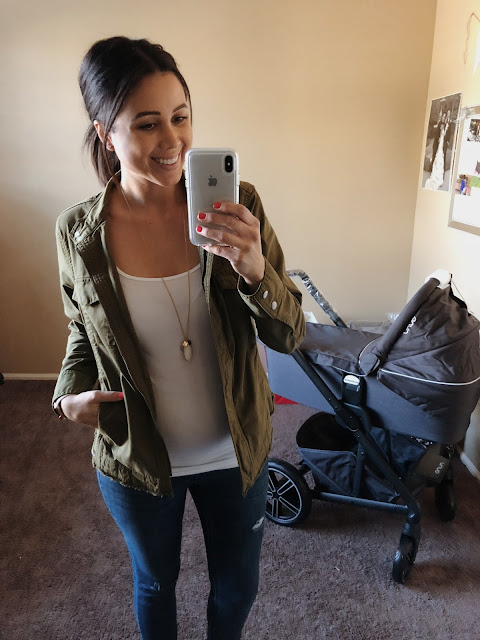 pregnancy, motherhood, halogen utility jacket from Nordstroms, white tank with skinny jeans